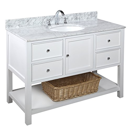 Kitchen Bath Collection KBCD8WTCARR New Yorker Bathroom Vanity with Marble Countertop, Cabinet with Soft Close Function and Undermount Ceramic Sink, Carrara/White, 48