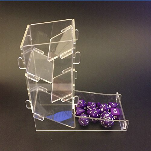 LZWIN Creative Protable Transparent Mini Prism Board Game Dice Tower Toy Kit Dice Boot for DND