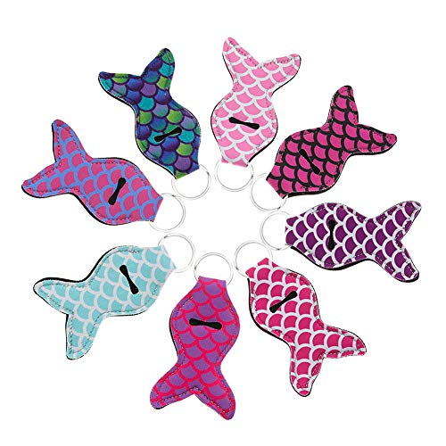 PORTOWN 8 Pieces Lipstick Holder Keychain Chapstick Key Chain Holder 8 Different Vibrant Prints (Mermaid Tail) ()