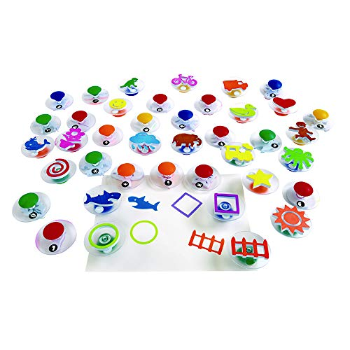 Colorations Easy Knob Grip Stamper Mega Jumbo Pack for Kids, 40 Stampers, 3