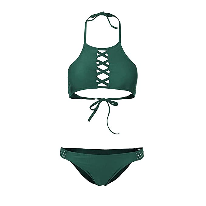 Tops de Bikini, Bikini Mujer 2019 Push up Bikini Traje de baño de Playa Sexy Beach Bikini Set Color Sólido: Amazon.es: Electrónica