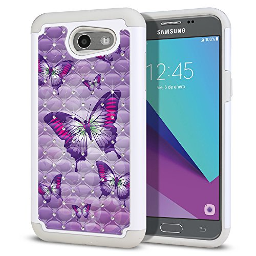 FINCIBO Case Compatible with Samsung Galaxy J3 Emerge J327 2017, Dual Layer Hybrid Protector Case Cover TPU Rhinestone Bling for Galaxy J3 Emerge (NOT FIT J3 2016, J3 PRO) - Pink Purple Butterflies