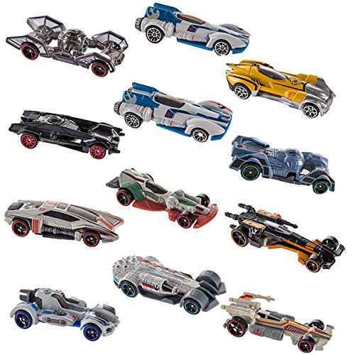 Hot Wheels (Set of 12) Disney Star Wars Carships Toys Set Starship Inspired Character Cars Pack (Toy Star Wars Ship)