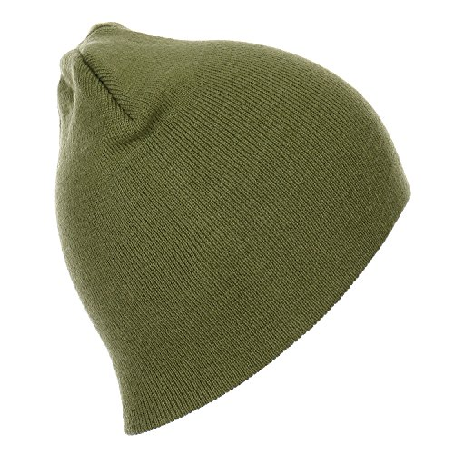 RufnTop Short Plain Knit Beanie Slouchy Cuff Toboggan Daily Hat Soft Unisex Solid Skull Cap(Olive One Size)