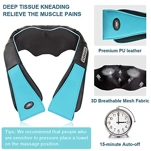 Shiatsu Neck and Shoulder Massager with Heat, Deep Tissue 3D Electric Kneading Pillow Massager for Neck Back Shoulder Muscle Pain Relief, Office Home Car Use, with Spiky Massage Ball