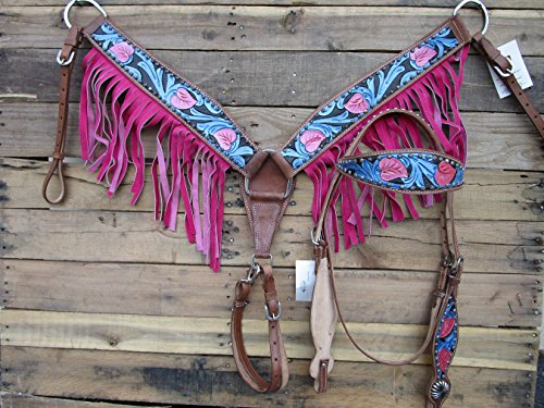 WESTERN HEADSTALL BREAST COLLAR SET TURQUOISE FLORAL TOOLED PAINTED BLUE PINK FRINGE SHOW HORSE LEATHER BRIDLE