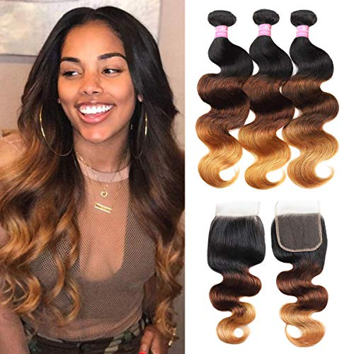 Mink Hair 3 Tone Ombre Body Wave Human Hair Bundles with Closure 14 16 18+12 Brazilian Body Wave Virgin Human Hair Weaves with Closure 1B/4/27#