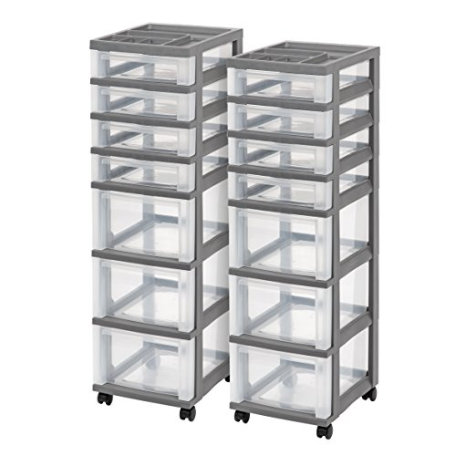 g Storage Cart with Organizer Top, Gray, 2 Pack ()