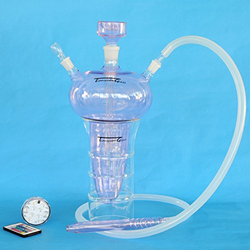All Glass Hookah 17'', Tianyuan Glass Handmade Hookah Shisha Nargila with 4 Multi Colors LED Light and Travel Code Case, Pink Water Jar (HK-02) by Tianyuan