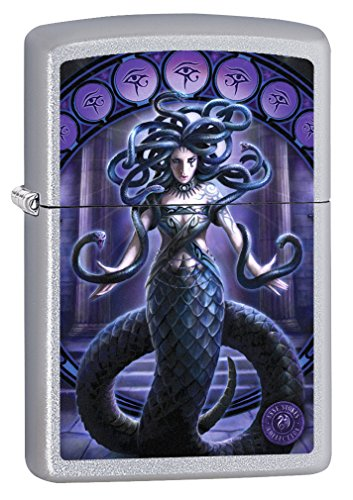 Satin Snake (Zippo Lighter: Anne Stokes Snake Lady - Satin Chrome 78384)