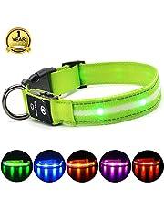 MASBRILL Leuchthalsband für Hunde Aufladbar LED Hundehalsband 100% Wasserdicht Blinkende Lichter mit USB