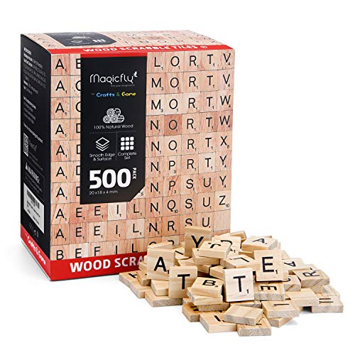 Magicfly 500Pcs Scrabble Tiles, Wood Craft Scrabble Letters Word Tiles, A-Z for Wood Gift Decoration & Scrabble Crossword Game (Scrabble Letters For Crafts)