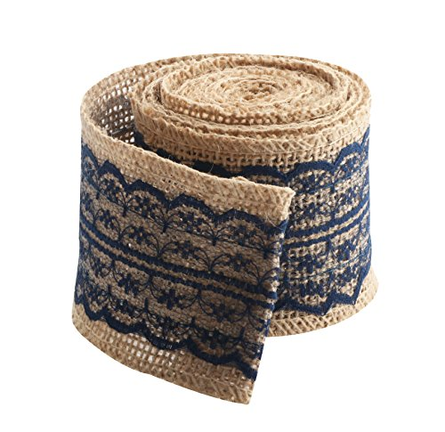 Jute Burlap Ribbon Roll with Navy Blue Lace 2.4
