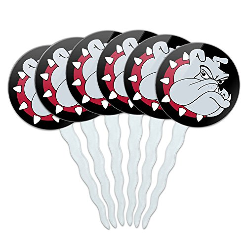 Set of 6 Cupcake Picks Toppers Decoration Dog Puppy - Bulldog Dog