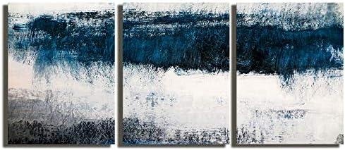 Abstract Canvas Wall Art Prints Painting Navy Blue Tones Modern Creative Artw...