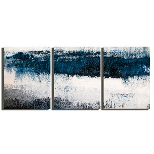 Abstract Canvas Wall Art Prints Painting Navy Blue Tones Modern Creative Artwork 3 Panels/Set Framed Bathroom Pictures Ready to Hang for Living Room Bedroom Office Kitchen Decorations 12