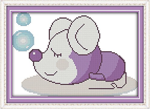 (Full Range of Embroidery Starter Kits Stamped Cross Stitch Kits Beginners for DIY Embroidery with 40 Pattern Designs - The Mouse)