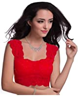 Pretty Girls' Women'S Net Bustier Saree Blouse (Mc1212Rd_Red_Free Size)