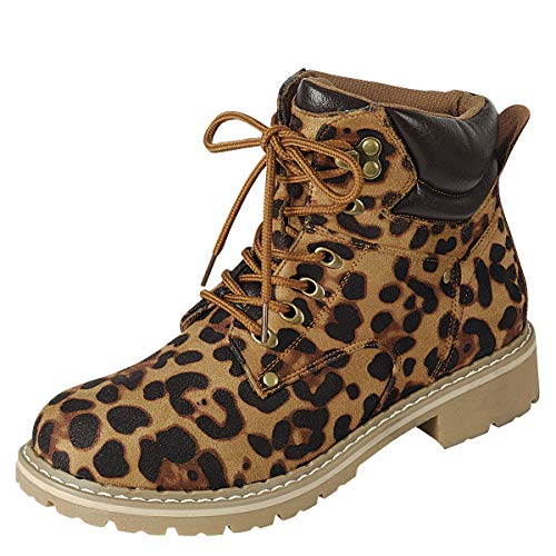 Forever Women's Ankle High Combat Hiking - Boot Tall Leopard