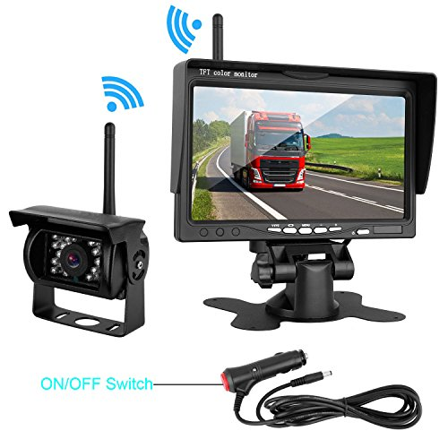 "ZSMJ Wireless Backup camera Rear view Camera System 7"" Display TFT Monitor Big View Angle IP69K waterproof Night Vision for /Truck /Pickup /Van /Caravan /Trailers /Camper"