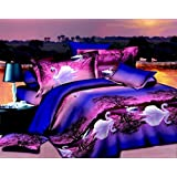 3d Bedding Sets Purple Swan Lake, Queen Size 100% Cotton, 4PCS with Duvet Cover, Bed Sheet, 2*Pillow Case(Comforter Not Included)