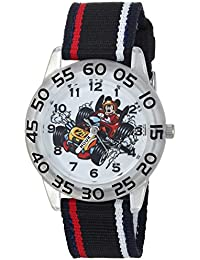 Boy's 'Mickey Mouse' Quartz Plastic and Nylon Casual Watch, Color:Black (Model: WDS000217)