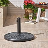 Great Deal Furniture Amethyst | Outdoor Concrete Circular Umbrella Base | 57LBS | in Weathered Bronze