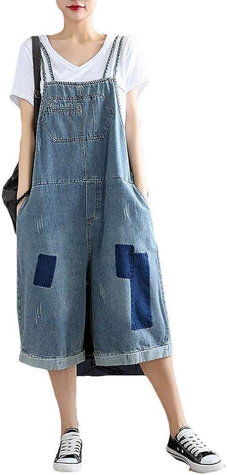 Nqfl Mono Para Mujer Pantalones De Mezclilla Retro Europeos Y Americanos Flojos Literarios Sueltos De Una Pieza Pantalones Blue B Onesize Amazon Com Mx Hogar Y Cocina