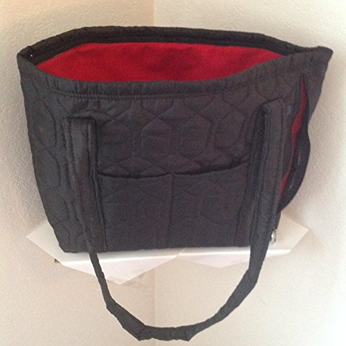 Handmade Quilted Handbags - Black quilted tote, handbag, shipped free, concealed carry pockets zippers washable