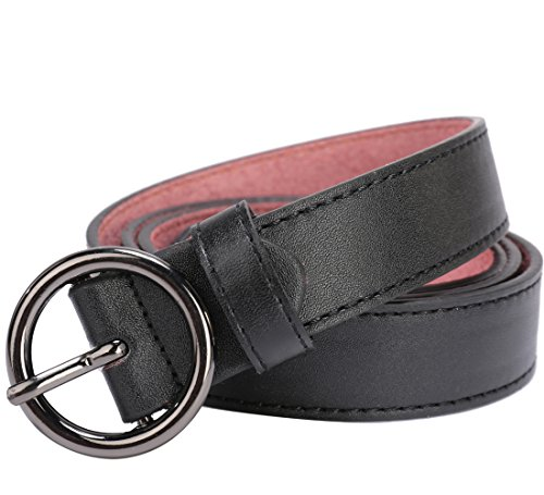 "Beltox Fine Women's Solid Stitched Belt 1.1"" Wide Alloy Buckle with Gift Box (waist size 30-32, Round Buckle Black)"