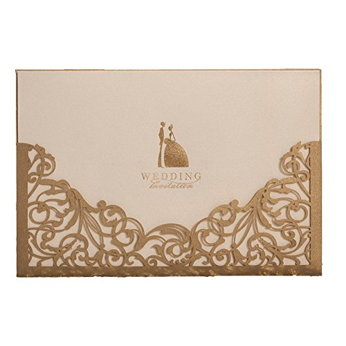 100X Wishmade Gold Laser Cut Wedding Invitations Cards Kits With Envelopes and Seals CW1016