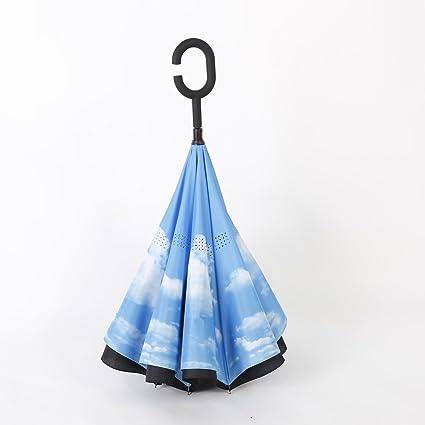 bpblgf Paraguas Reverso Doble Sin Manos Del Coche C Paraguas Reverso Anti UV Varios Colores,