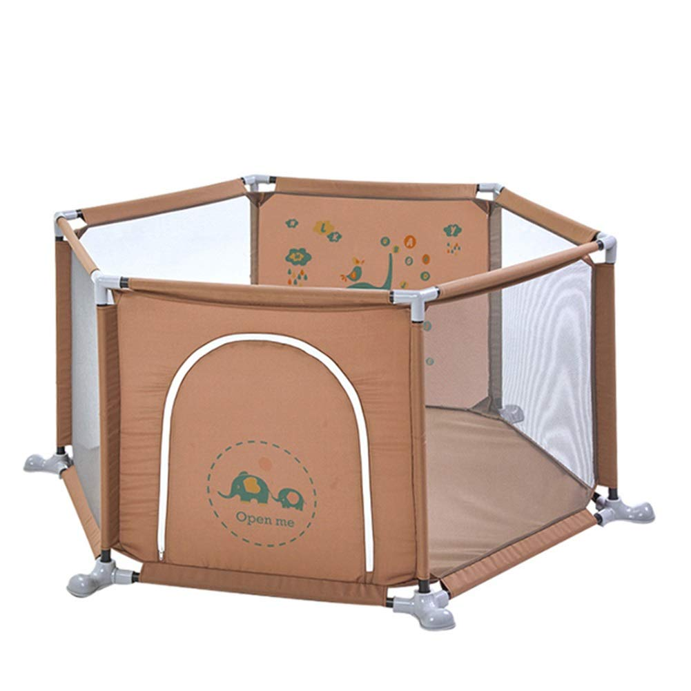 Yxsd Home Play Fence Baby Indoor Playground Child Safety Fence (Color : Brown)
