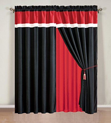 Piece Burgundy Curtain attached valance product image