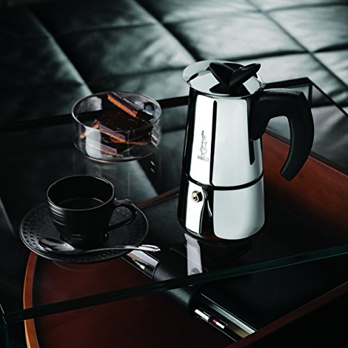 Bialetti 6955 Musa Stovetop Espresso Coffee Pot, 4-Cup, Stainless Steel
