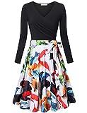 Spring Dresses for Women Messic Elegant V Neck Tea Dress Oversized Long Sleeve Boho Travel Knee Length Ruched Elastic Dress with Belt White Orange Large