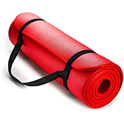 HemingWeigh 1/2-Inch Extra Thick High Density Exercise Yoga Mat with Carrying Strap (Red)