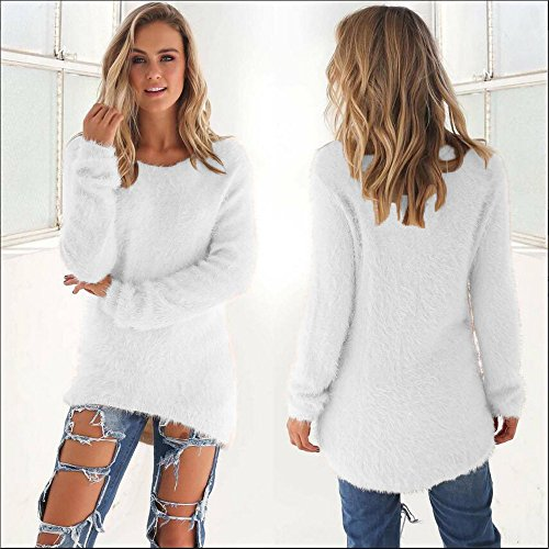 Femmes Longues Casual Solides Blouse Longues Warmer Rovinci Manches Pull Manches Pull Les lgant Col Rond Blanc1 d'hiver CqHxUT