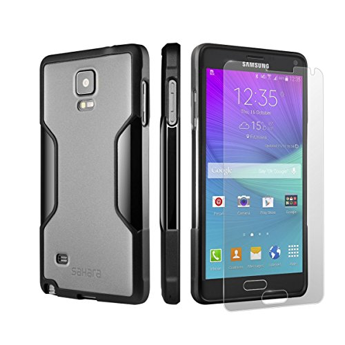 Black Gray SaharaCase Protective Kit Bundle with [ZeroDamage Tempered Glass Screen Protector] Rugged Protection Anti-Slip Grip [Shockproof Bumper] Slim Fit (Gray Black) ()