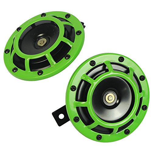 CARMOCAR Eletric Car Horn Kit 12V 135db Super Loud High Tone and Low Tone Metal Twin Horn Kit with Bracket for Cars Trucks SUVs RVs Vans Motorcycles Off Road Boats (Green)