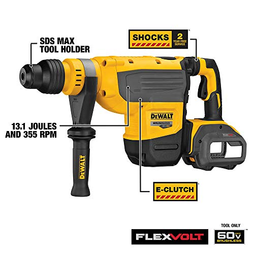 DEWALT FLEXVOLT 60V MAX Rotary Hammer Drill, SDS Max, 1-7/8-Inch, Tool Only (DCH733B)