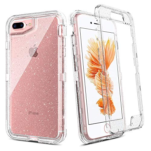BENTOBEN Case for iPhone 8 Plus/iPhone 7 Plus/iPhone 6s Plus/iPhone 6 Plus 5.5 Inch, Transparent Clear Heavy Duty Rugged Full Body Shockproof Protective Phone Case Cover, Silver Glitter Crystal Clear