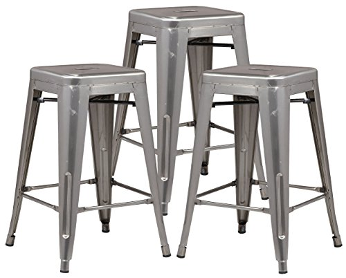 Poly and Bark Trattoria 24 Counter Height Stool in Polished Gunmetal Set of 3