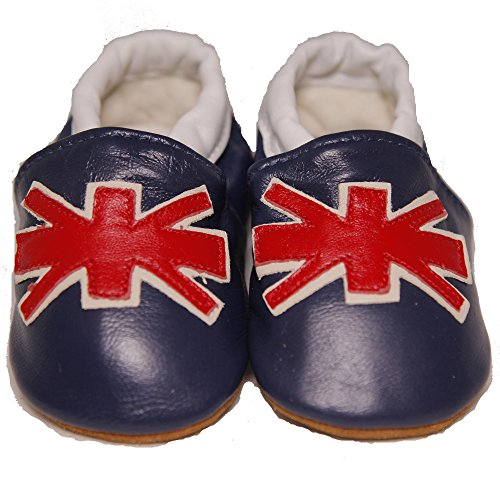 Baby Conda Handmade Cute British Flag – Union Jack Baby Moccasins Leather Soft Sole Slip on Baby Shoes 100% Size 12 – 18 Months
