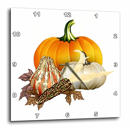 Wall Clock, Colorful Pumpkins Corn and Autumn Leaves