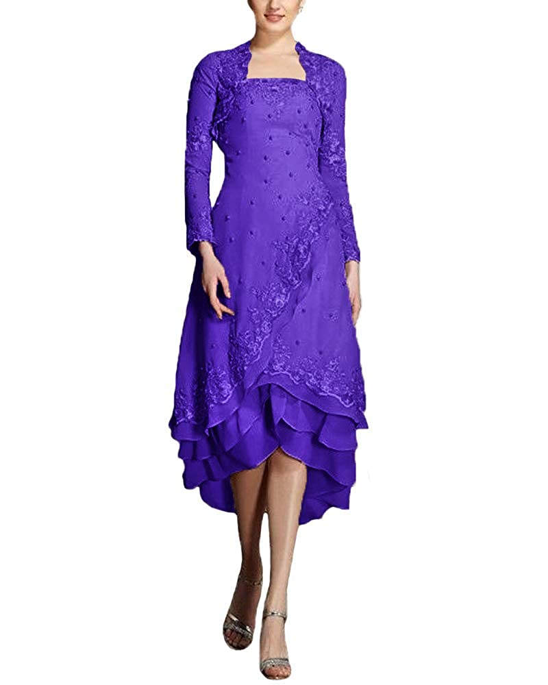 Purple JINGDRESS Tea Length Beaded Mother of The Bride Dresses with Long Sleeve Jacket Two Piece for Women