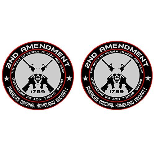 2x 2nd Amendment - America's Original Homeland Security Round Bumper Sticker Decal (5 Inch) by Customize Right (Image #3)
