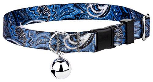 Country Brook Petz Blue Paisley Featherweight Cat Collar -