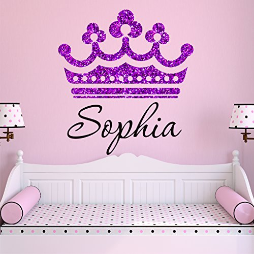 Girls Princess Tiara Purple Glitter Crown Personalized Custom Name Nursery Wall Decal, SIZE SMALL Girls Room Wall Decals, Princess Wall Decals, Nursery Decals, PLUS FREE HELLO DOOR DECAL