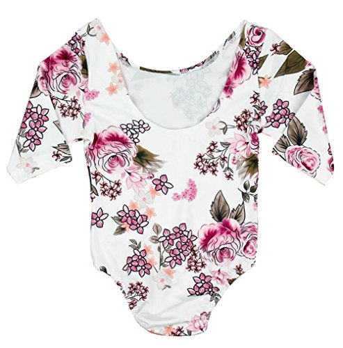 BANGELY Kids Baby Floral Print Long Sleeve Leotard Bodysuit Backless One-Piece Gymnastics Romper Onesies Size 2-3 Years/Tag120 (White)